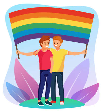 Young couple of smiling white men, ginger and brunette, gays holding a flag with a rainbow. Element lgbt and gay parade, protest. Vector illustration with lgbt men