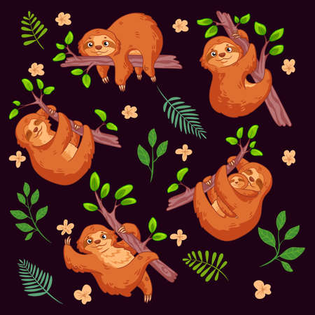Cute cartoon sloths set. Animal vector illustration. Can be used for nursery, stickers, postcard, t-shirt, birthday, baby shower or book design and party decor, fabric print