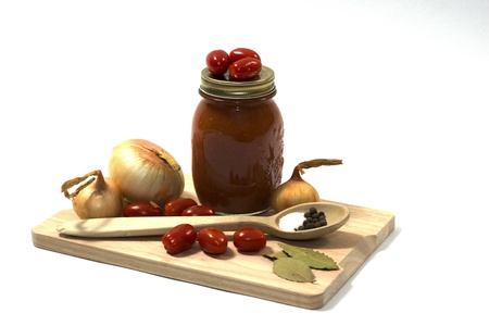 Homegrown vegetables and other ingredients used to make homemade tomato juice