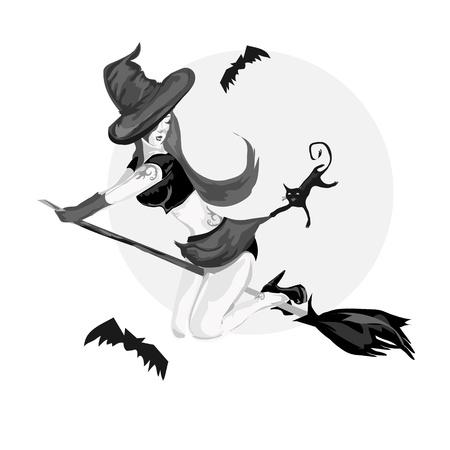 strega che vola: bella strega volare su una scopa con gatto nero Vettoriali