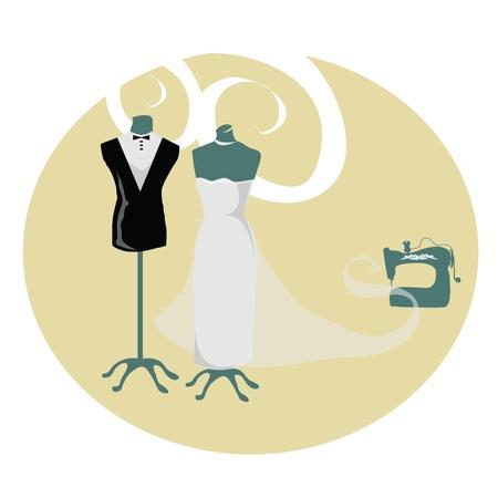 mannequin: matrimonio atelier Vettoriali