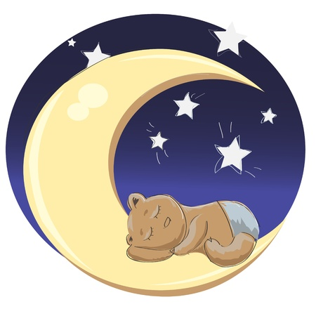 baby boy bear sleping on the moon Vector