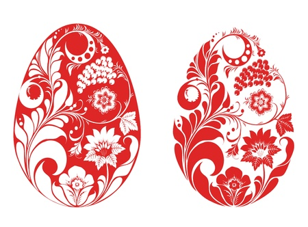 gzhel: red colour eggs in russian style Illustration