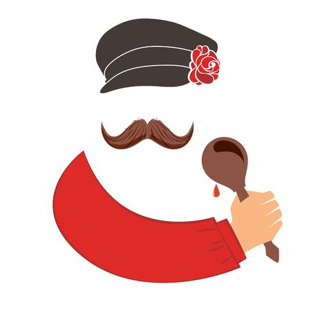 russian food: man with mustache in russian national dress with big spoon in hand