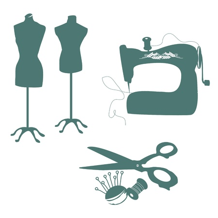 people sewing: sewing tools colection