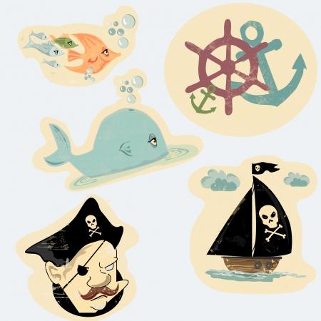 anchor man: vector set in cartoon style of sea heroes
