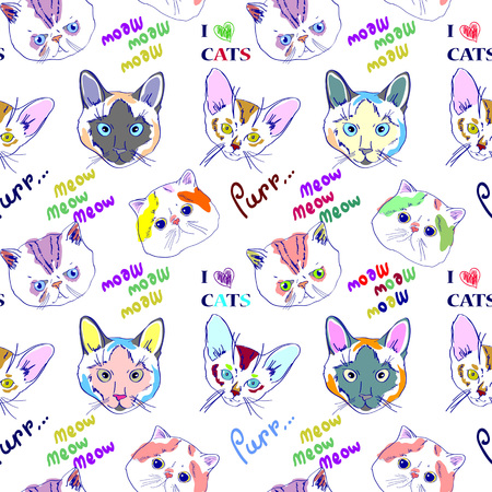 cool colorful pattern with cats faces and text on it Illustration