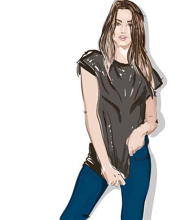 illustrazione di moda disegnata a mano giovane donna in stile casual posa