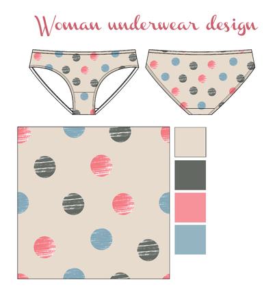 woman underwear with polka dots print fashion sketch