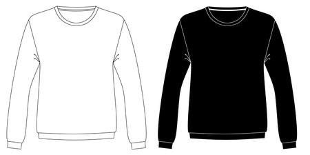 black and white unisex sweatshirts template front part Illustration