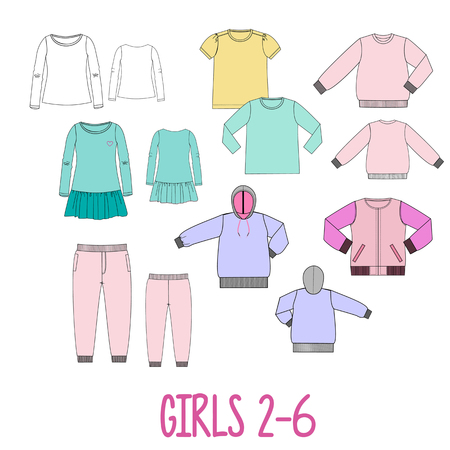 big technical drawing set of clothes for girls 2 and 6 years old