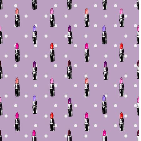 lipstic pattern on polka dots background