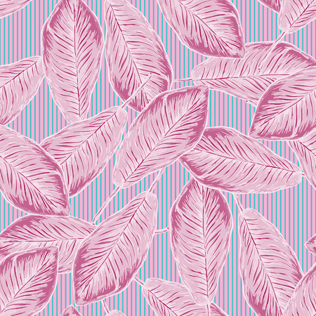 Seamless tropical pattern with banana leaves on striped background