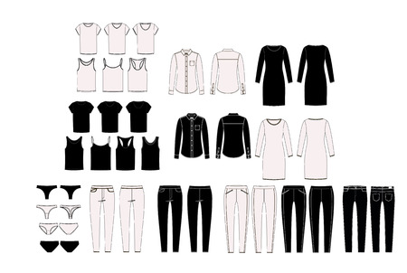 Womans wardrobe elements for combination. Set of vector womans clothing. Capsule wardrobe. Technical sketches collection Stock Illustratie