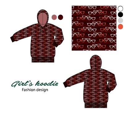 Printed hoodie for girls in wayfarer sunglasses artwork illustration. Illustration