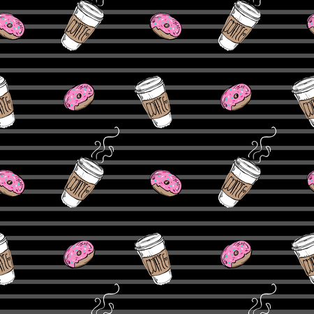 Seamless pattern donut and coffee on striped black background illustration.
