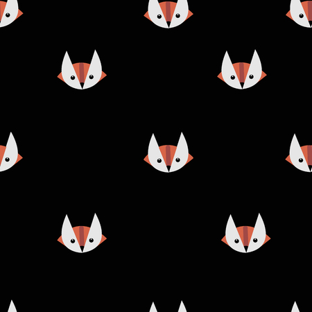 Fox geometric muzzles seamless background. Ilustrace