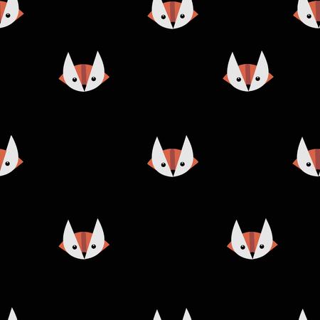 Fox geometric muzzles seamless background. Illustration