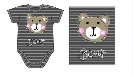 design of Baby boy bodysuit. technical sketch and artwork with print or applique of teddy bear face Illustration