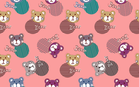 Cute kids bear pattern for girls. Colorful bear on the abstract background create a fun cartoon drawing. The pattern is made in blue colors. cartoon bear pattern for textile and fabric.baby shower, its a girl concept Illustration