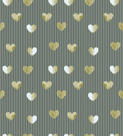 seamless gold heart glitter pattern on khaki striped background