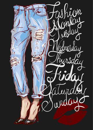 fashion illustration of femail legs in blue boyfriend jeans