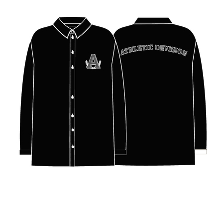 A shirt technical sketch with print on back. black color Illustration