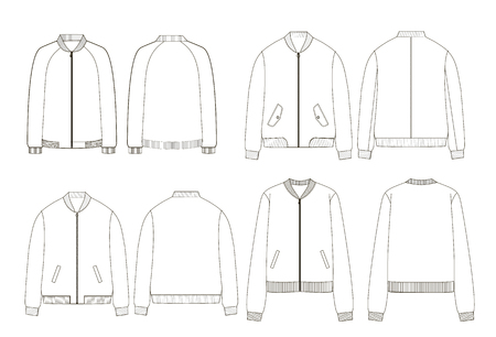 Unisex college bomber jacket technical sketches