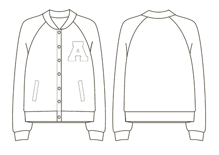 Unisex college bomber jacket technical sketch.
