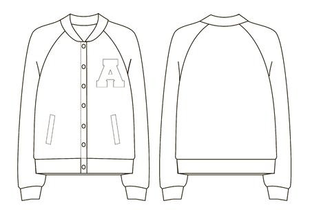 Unisex college bomber jacket technical sketch.