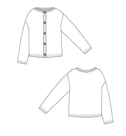 Knit jacket technical sketch front and back with buttons