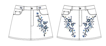 A denim skirt with embroidery design front and back parts