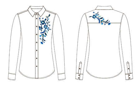 A sketch of front and back parts of blouse with floral embroidery. 일러스트