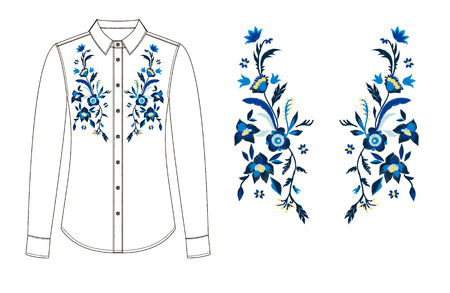 A sketch of front and back parts of blouse with floral embroidery. 矢量图像