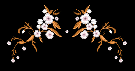 Embroidery of sakura flowers with leafs for Fashion. Vector illustration.design of pillow case or napkin or tablecloth