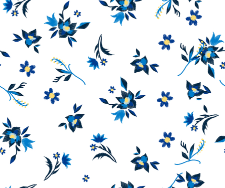 pattern embroidery flowers on white background. ethnic style