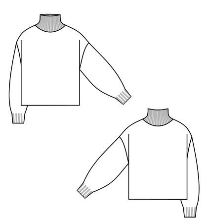 sweater turtleneck technical sketch