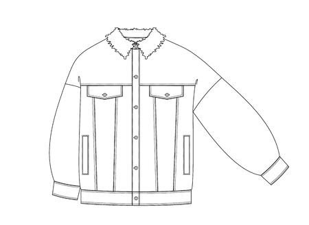 Jeansjas technische schets voorkant. mode schets in contouren Vector Illustratie