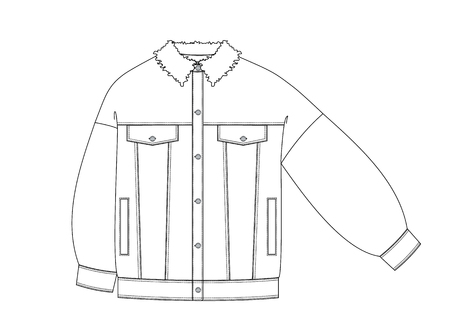 Jeans jacket technical sketch front side. fashion sketch in outlines