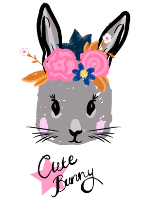 cute rabbit with bow face with wreath on head. Illustration