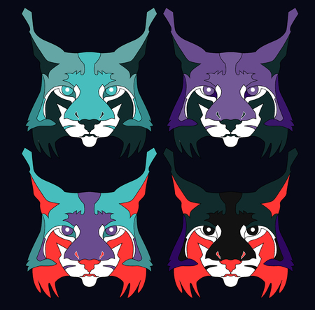 set of lynx face abstract illustration in colors on black background