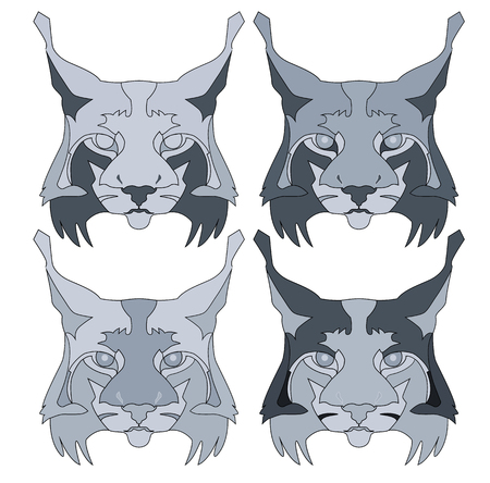 monochrome lynx face abstract illustration in colors on white background