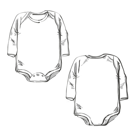 Front part and back part baby body clothes technical sketch