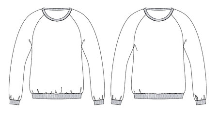 Sweatshirts technical sketches with diffrent fit front part Vectores