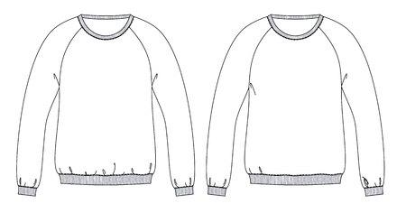 Bocetos técnicos de sudaderas con parte delantera de ajuste diferente
