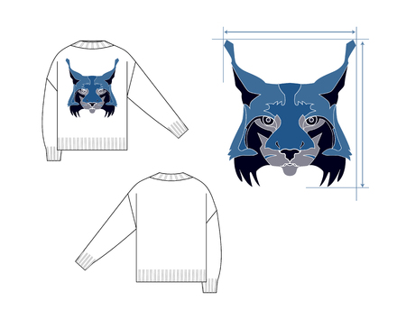 Black sweater with lynx back and front views