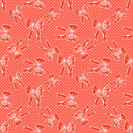 cute bow pattern on dots background in red colors Stock Photo