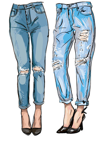 illustration of blue jeans with embroidery for your design Stock Illustratie