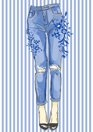 Blue jeans with embroidery for your design