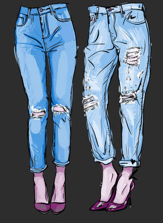 fashion illustration of femail legs in blue boyfriend jeans with holes